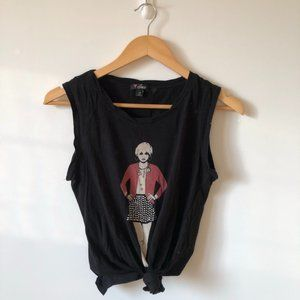 Guess Black Graphic Studded Tie Tank Top